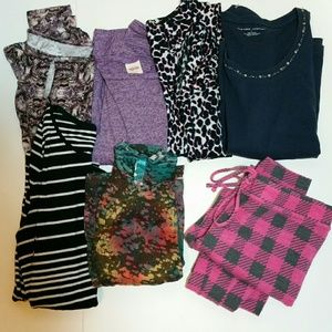 Lot of seven items medium size tops and pj pants